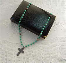 Faux Alligator black Rosary Necklaces box