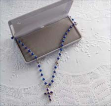 Grey velvet Child Rosary box