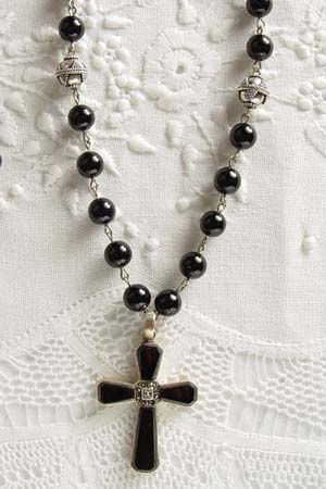 Black Onyx w 1-3/4 in black onyx and marcasite cross