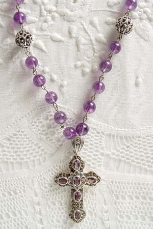 Amethyst w 2-1/4 in marcasite and amethyst inset cross