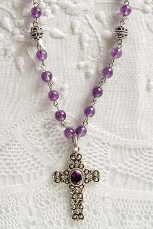 Amethyst w 1-3/4 in amethyst inset cross